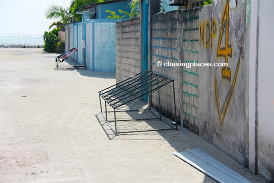 Chairs such as these are visible throughout the Maldives
