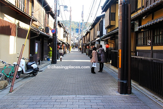 One of the quiter streets in Gion, Kyoto