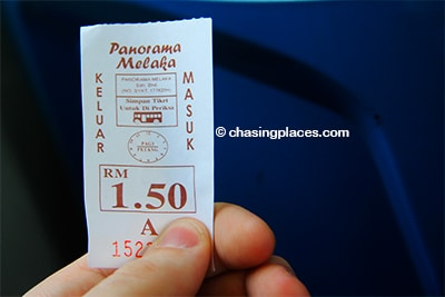 The bus ticket from Melaka Sentral to Dutch Square
