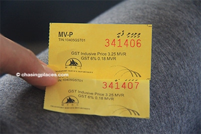 The ferry ticket to get to Villingili