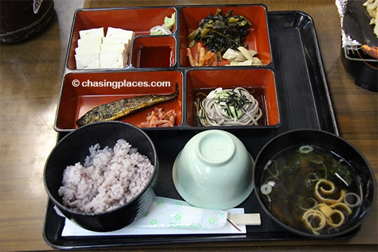 The lunch served during our tour to Ainokura and Shirakawa-go