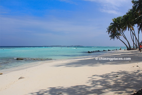 The most popular swimming beach on Maafushi Island
