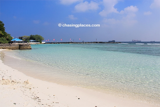 Villingili's main beach is quite nice with clear water
