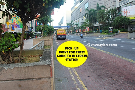 Buses pick-up passengers in front Johor Bahru City Square