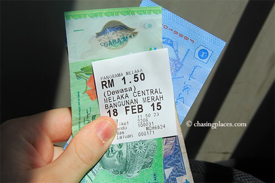 Expect to pay RM 1.50 to get to Jonker Walk from Melaka Sentral