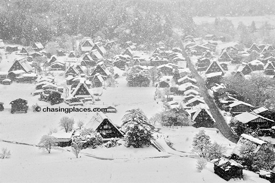 Magical Shirakawa-go during a heavy winter storm