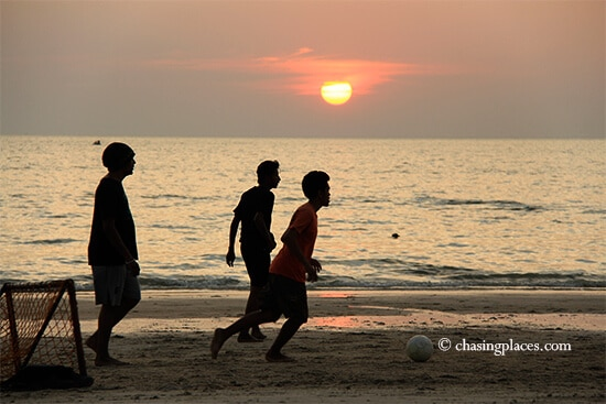 Pantai Cenang football during sunset