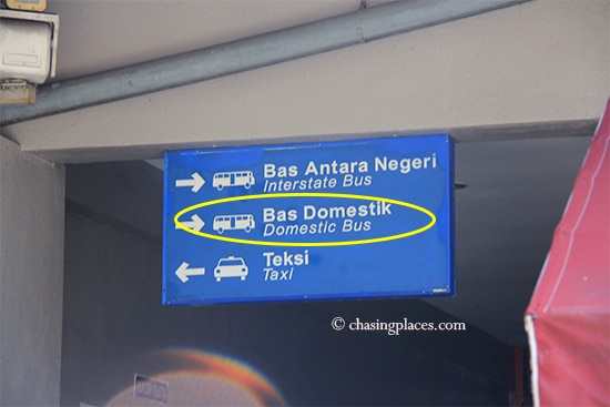 Proceed to the domestic bus gates when you arrive at Melaka Sentral
