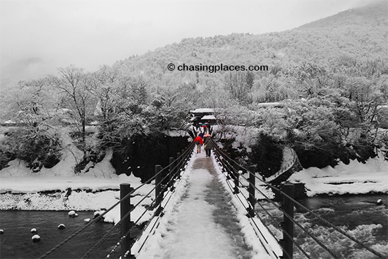The walking bridge leading to Shirakawa-go, Japan