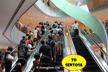Continue up the escalators if you want to reach the Sentosa Express Monorail