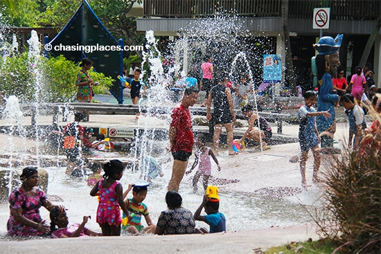Family fun beside Palawan Beach, Sentosa, Singapore