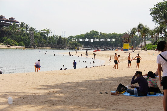 Palawan Beach, with the popular island bridge, Sentosa Island
