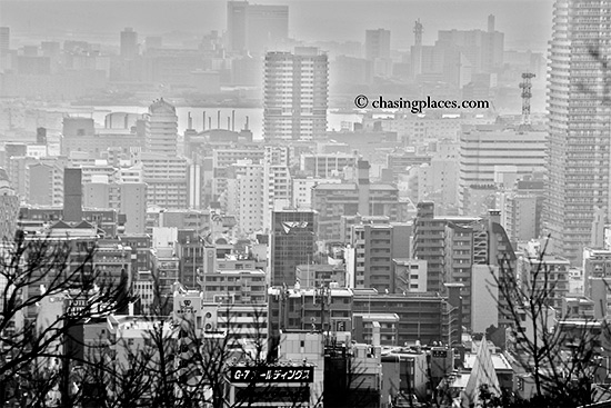 The view of Kobe, from about 400 meters beyond the upper set of falls