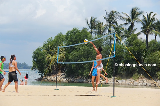 Volleyball action on Tanjong Beach, Sentosa, Singapore