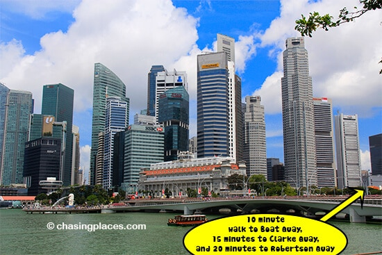 All three Quays are within walking distance to the Marina area in Singapore
