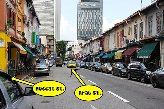 As you walk down Arab St., Muscat-St. will be noticeable