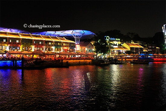 Clarke Quay with water reflections