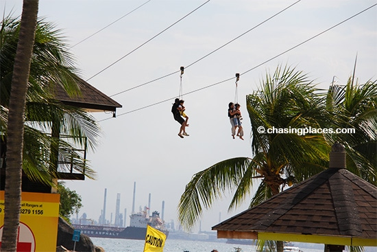 Sentosa is a great place for a zipline ride