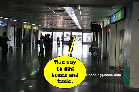Exit Krabi Airport to get to the mini buses and taxis