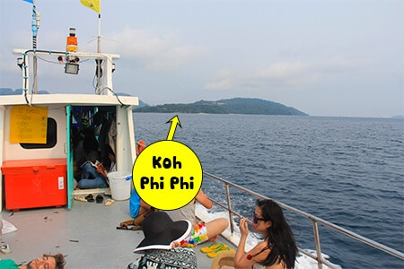 Koh Phi Phi Don will be on your right as you approach from Lanta