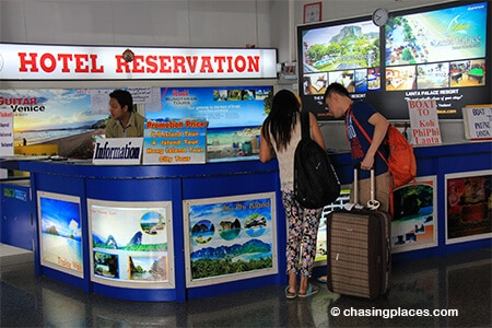 One of the booking desks at Krabi Airport for tickets to Koh Lanta