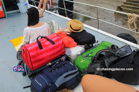 The ferry crew will ask you to place your larger bags on top of the ferry