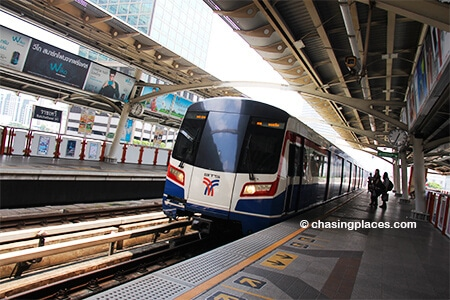 Bangkok's Skytrain service is a reliable, affordable and fast way to get to Chatuchak Market