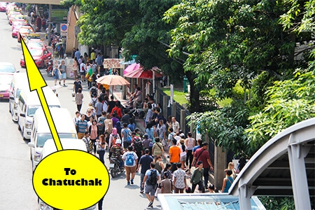 Just follow the large crowds once you reach Mo Chit Station