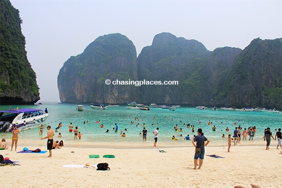 Lots of people swimming at Maya Bay
