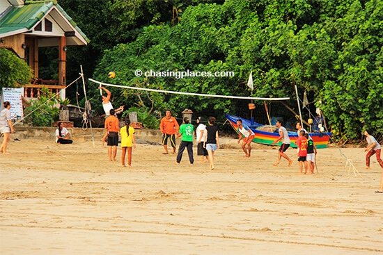 Some locals playing their daily volleyball games