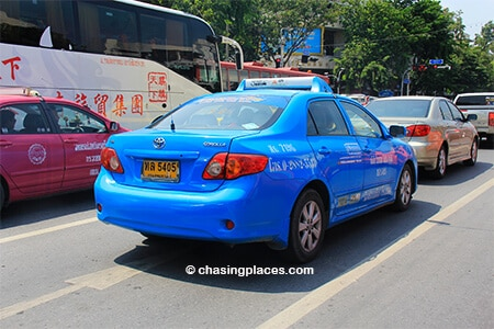 Taking a taxi to Chatuchak from Khao San Road if traffic is light. Otherwise take tuk tuk and the Skytrain