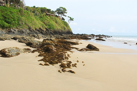 The rocky headlands protecting Kantiang Bay