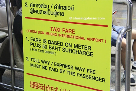 Be prepared to have enough Baht to pay for the meter price plus 50 Baht and toll charges