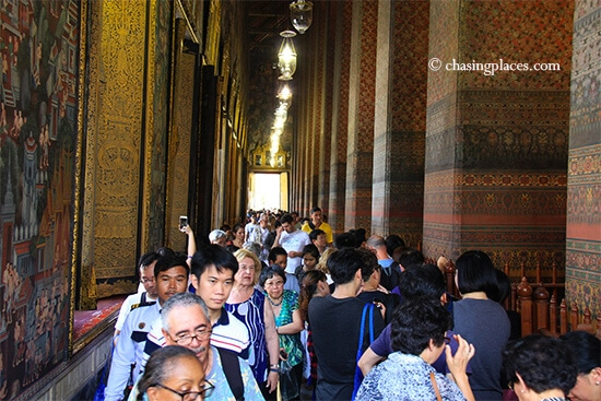 Expect lots of people at Wat Pho. This was taken during low season