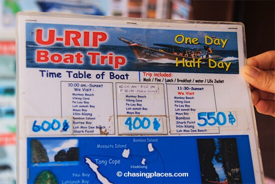 A few sample tour itineraries on Koh Phi Phi with prices