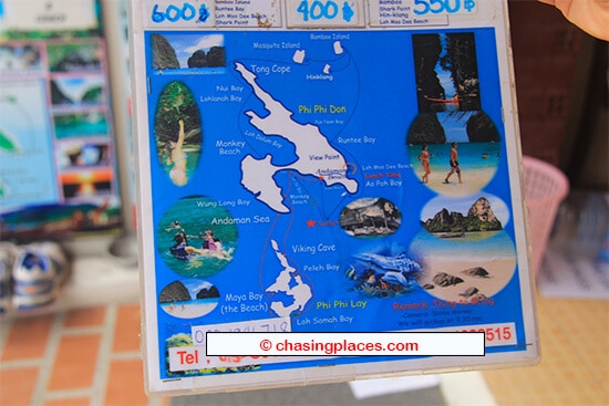 A typical tour map displayed on Koh Phi Phi
