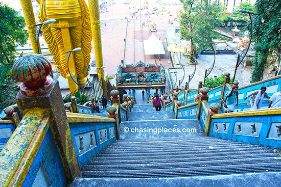 Looking down from the top of the stairs at Batu Caves, Kuala Lumpur, Malaysia