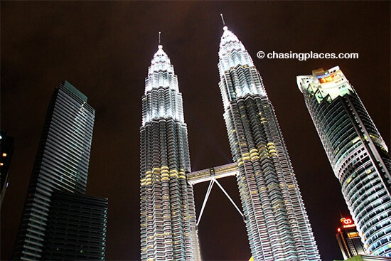 The Petronas Towers glow marvelously at night