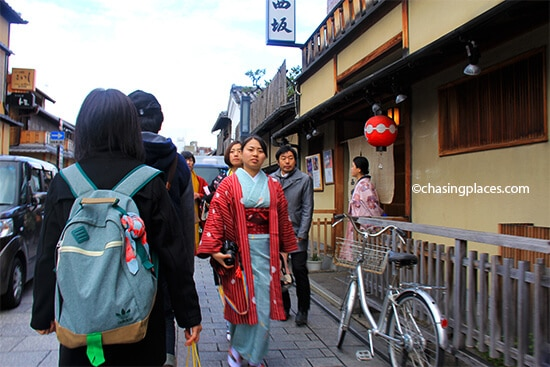 You will come across many traditionally dressed locals iin Gion