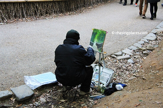 A local painter at Kyoto's famous Bamboo Grove