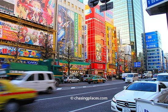 Akihabara is full of vibrant colours making it a great place for a stroll while in Tokyo