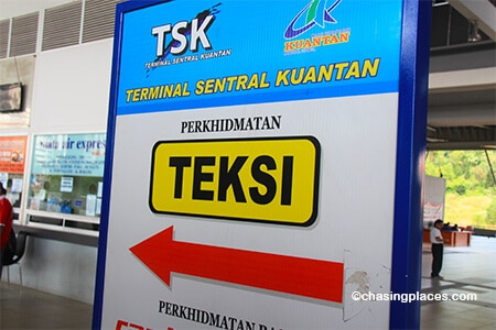 After your bus arrives at Sentral Kuantan Station then you will have a choice to take a taxi into the city.