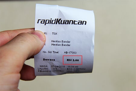 The local Rapid Kuantan Bus from Sentral to the City Centre will cost 2 RM.