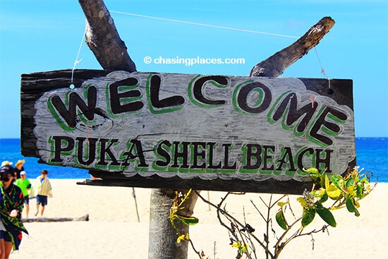 The sign says it all. Puka Beach, Boracay