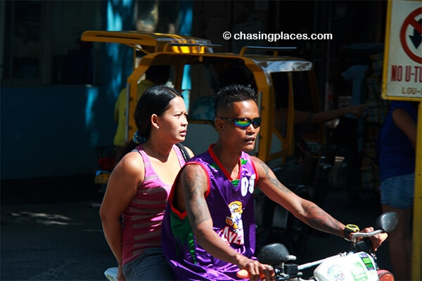 A few locals driving down the main drag on Boracay Island.