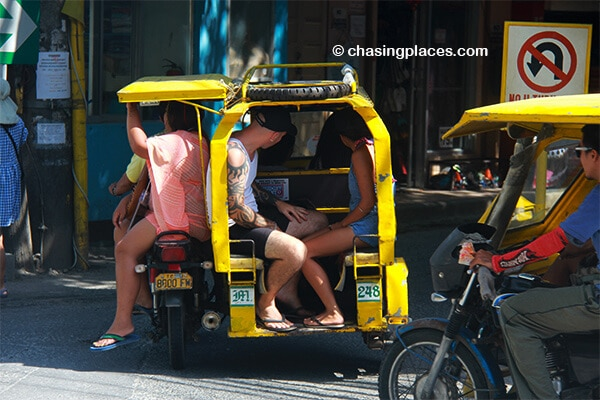 A special tricycle on Boracay. whisking some tourists to their next stop.