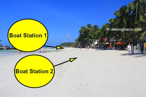 Boat Station 1 is the farthest portion of White Beach in relation to the pier.