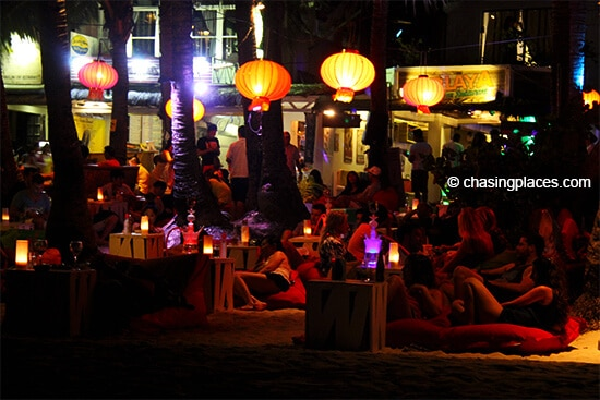 Boracay is loaded with social hangouts after sunset.
