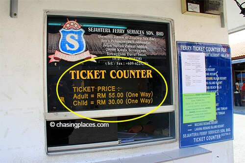 Expect to pay 55 RM per way to take the ferry to Pulau Redang