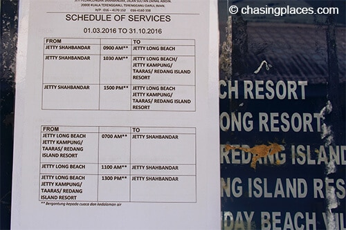 The ferry times to Pulau Redang at the time of writing